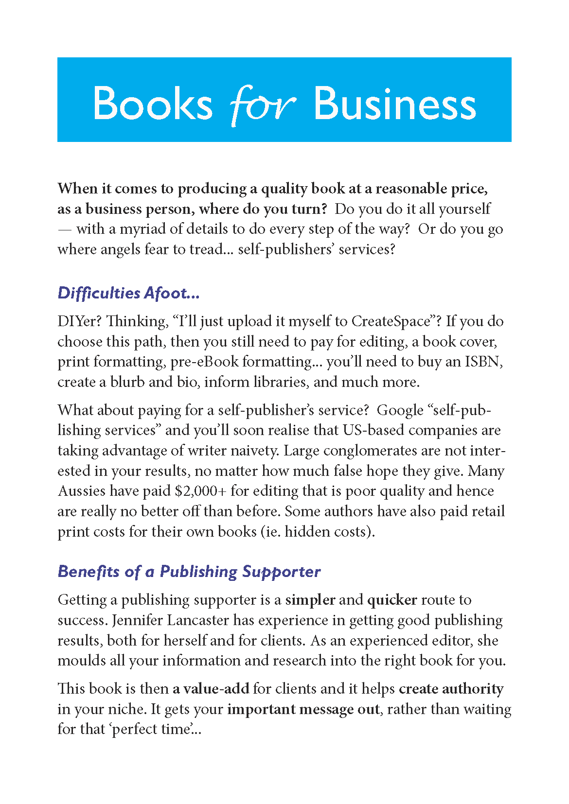 self-publishing for business