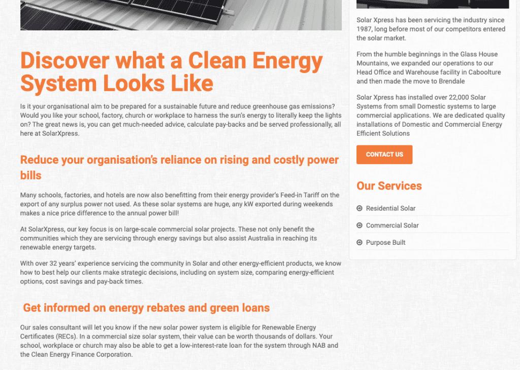 solar web copywriting